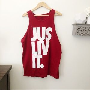 Jus Liv It red tank with white print size XL